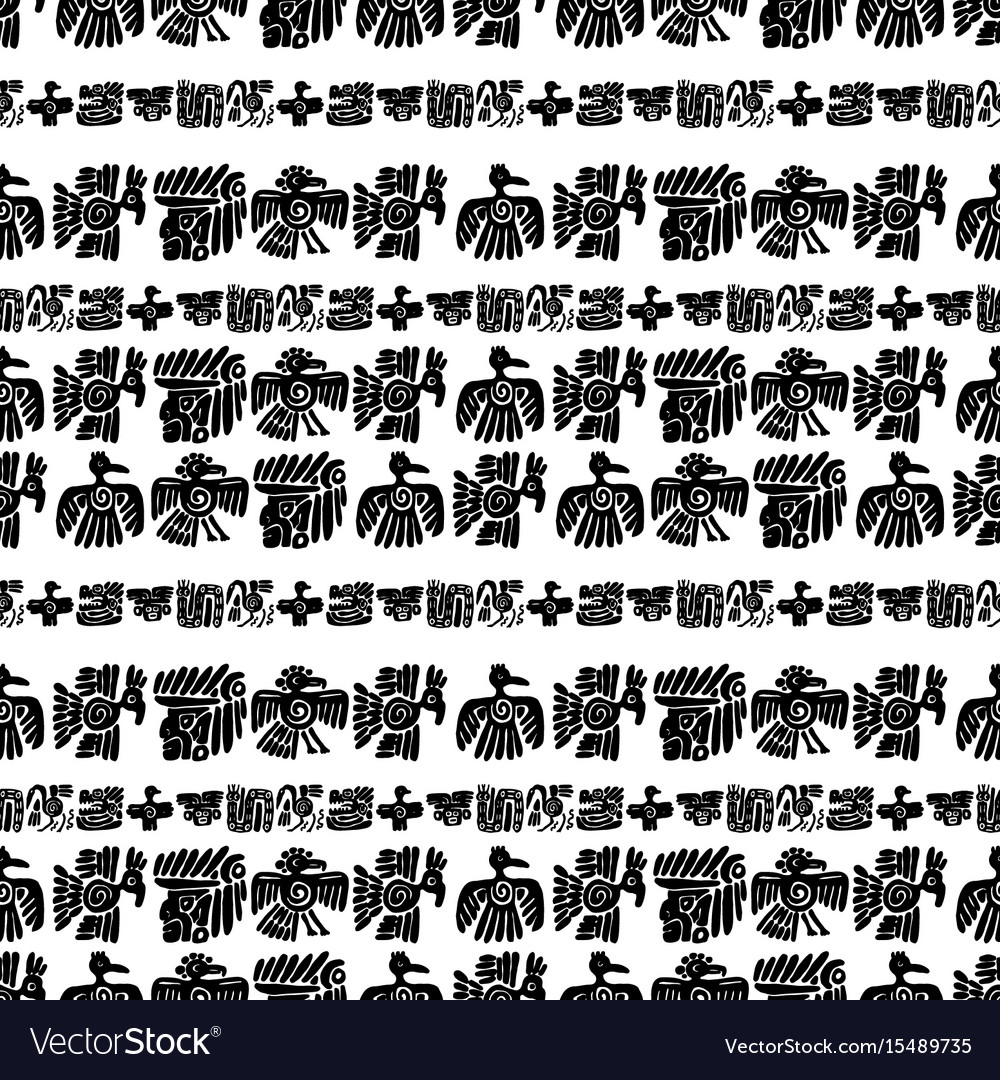 Seamless maya pattern black and white