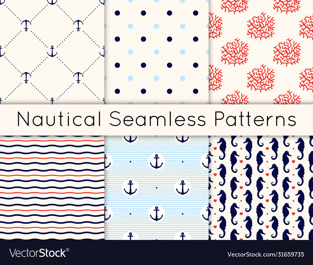 Set 6 seamless nautical patterns