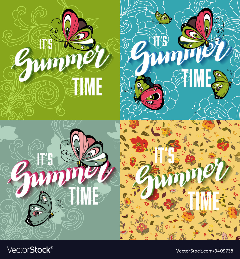 Set of Colorful Bright Lettering Summer