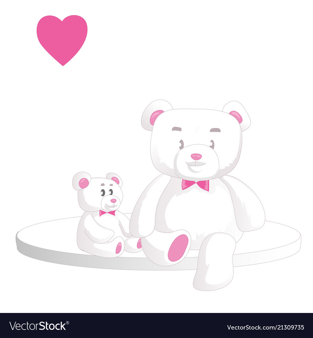 Two cute white teddy bears with heart isolated