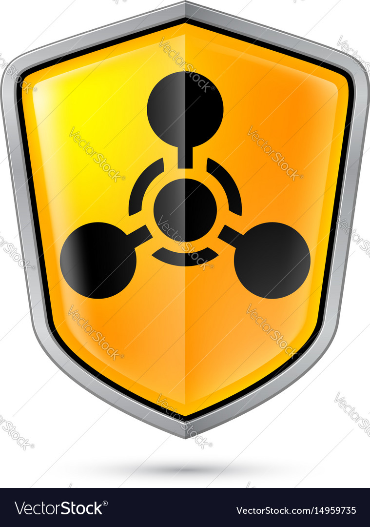Warning sign on shield indicating of chemical vector image