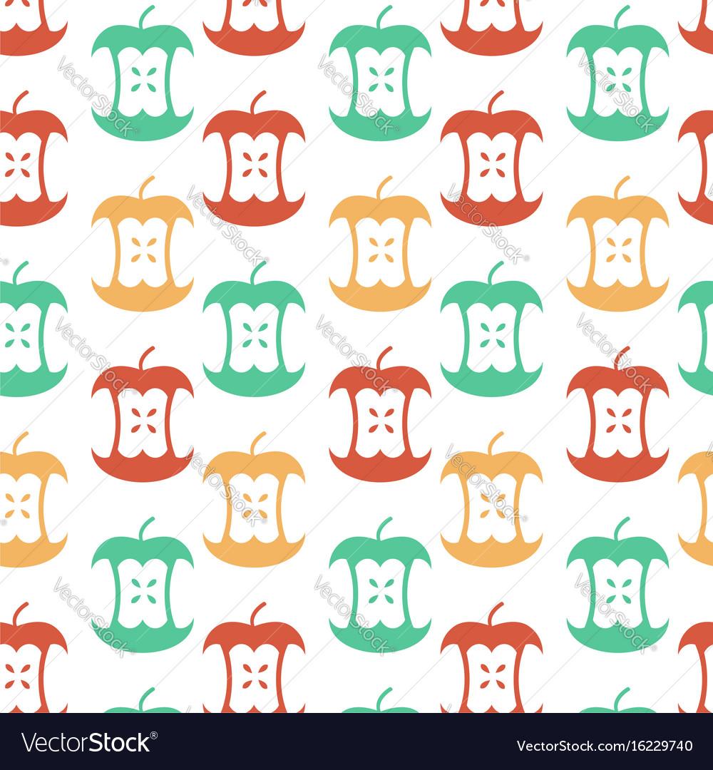 Apple core seamless pattern fruit trash ornament vector image