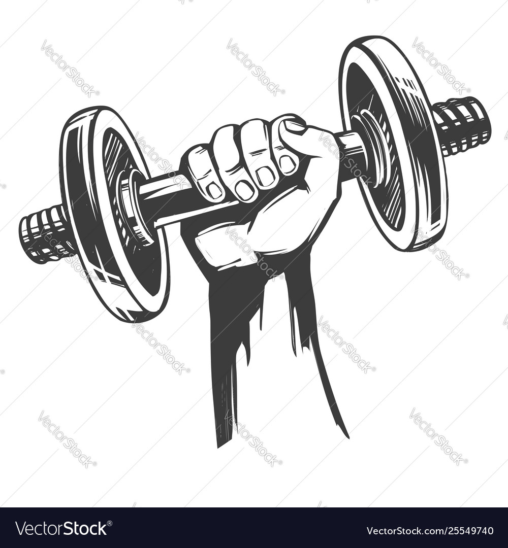 Arm strong hand holding a dumbbell icon cartoon