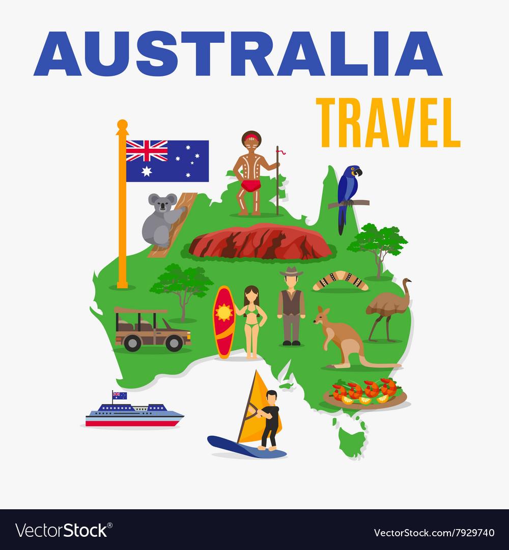 Australia Map Poster.Australia Travel Map Poster Royalty Free Vector Image
