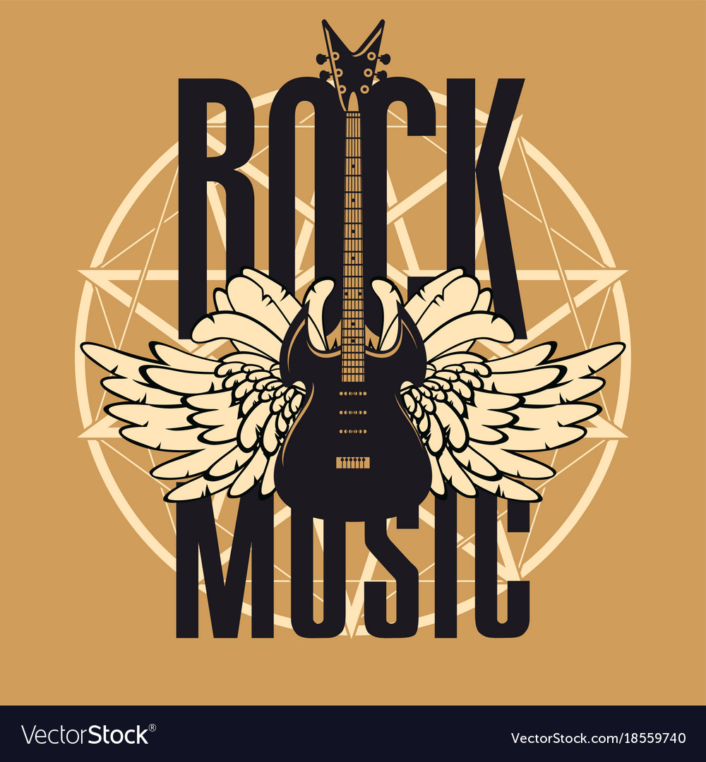 Banner for rock music with guitar and wings