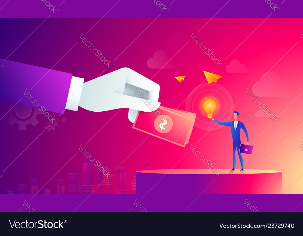 Businessman with light bulb and other hand giving