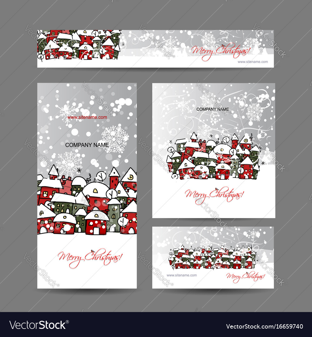Christmas cards with winter city sketch for your vector image