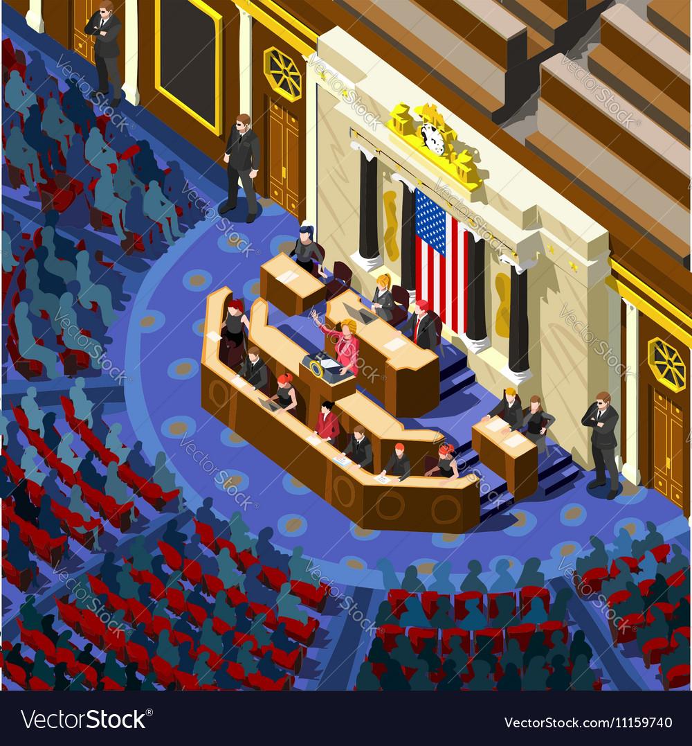 Election Infographic Congress Hall Us Isometric