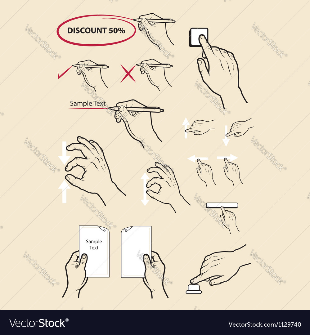 Hand signs write zoom in zoom out etc vector image