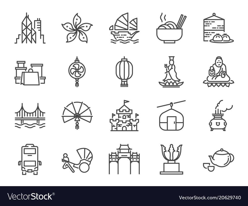 Hong kong travel icon set