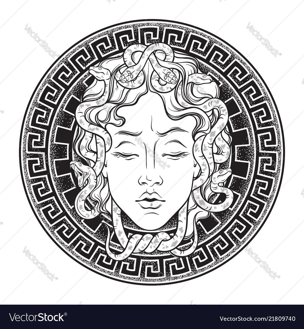 Medusa gorgon head on a shield hand drawn line art