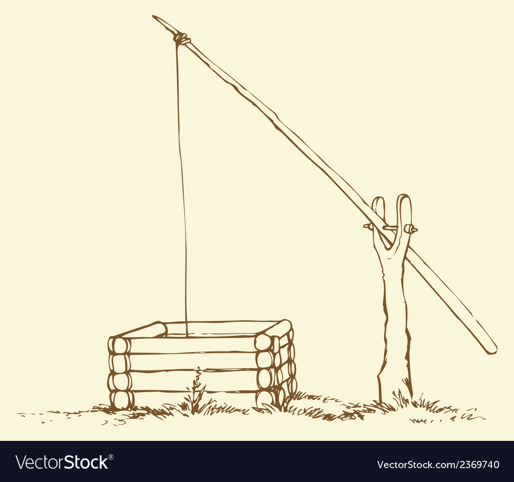 Old wooden well vector image