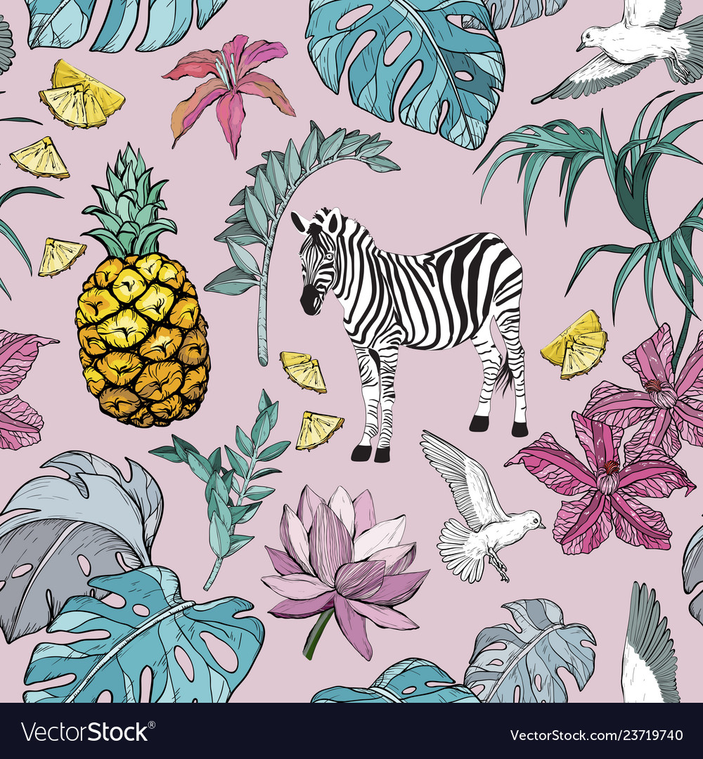 Seamless pattern with summer tropical flowers