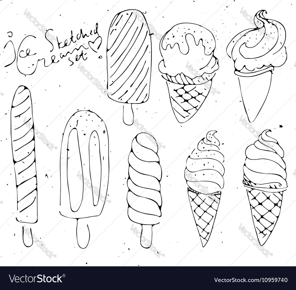 Set Ice cream - sketched isolated icecream on