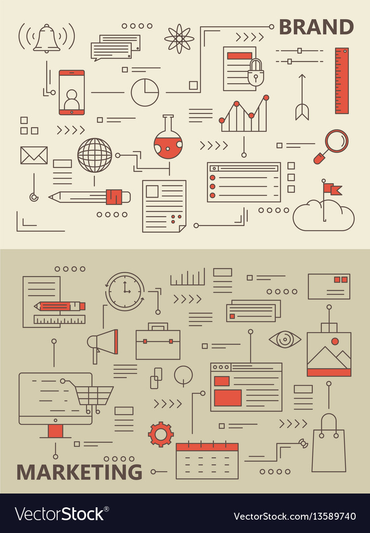 Set of modern thin line marketing process vector image