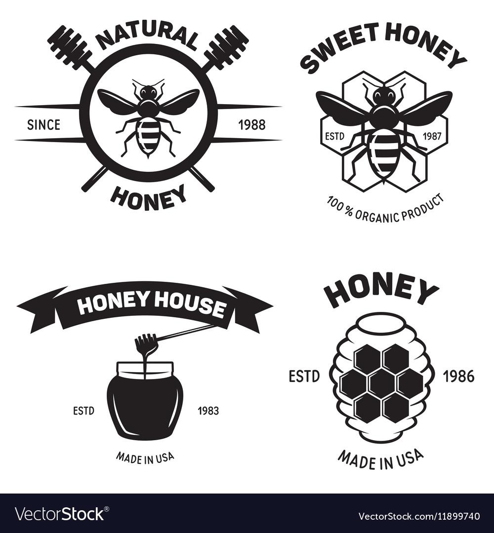 Set of vintage honey labels badges logotypes and