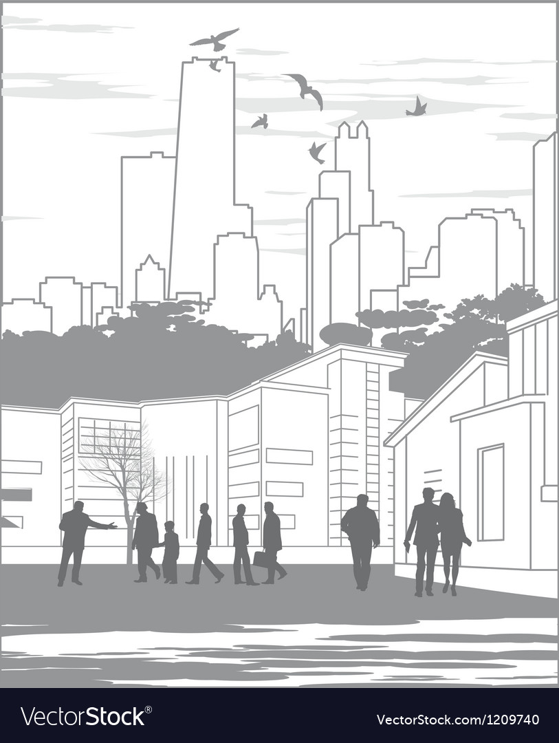 Silhouettes of people on city background with vector image