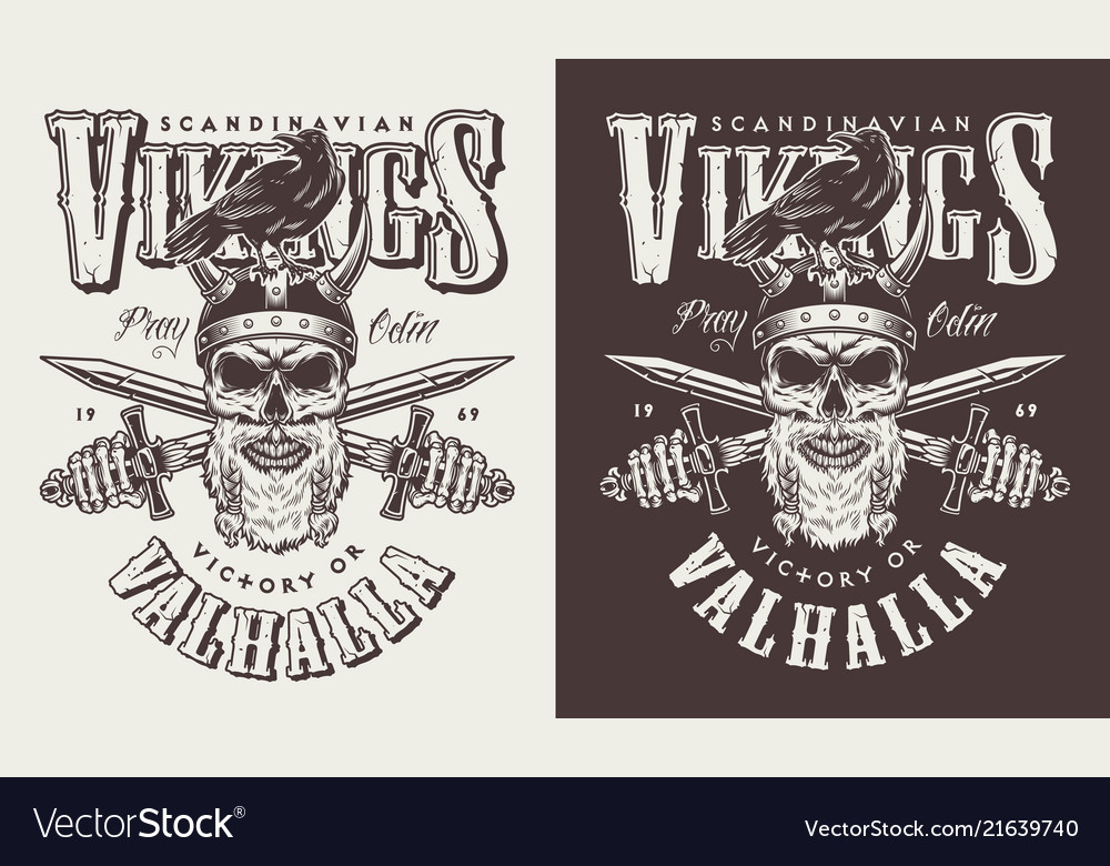 T-shirt print with viking head vector