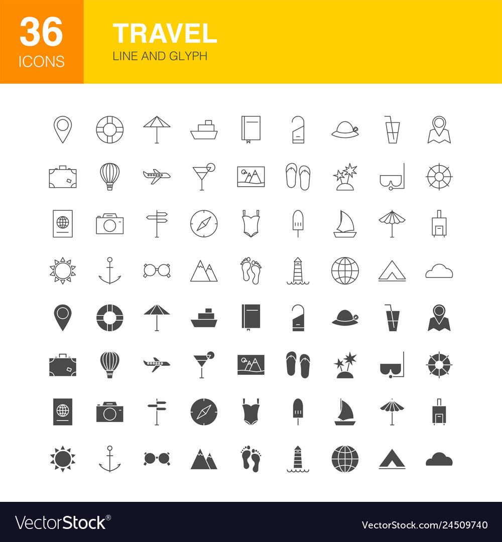 Travel line web glyph icons