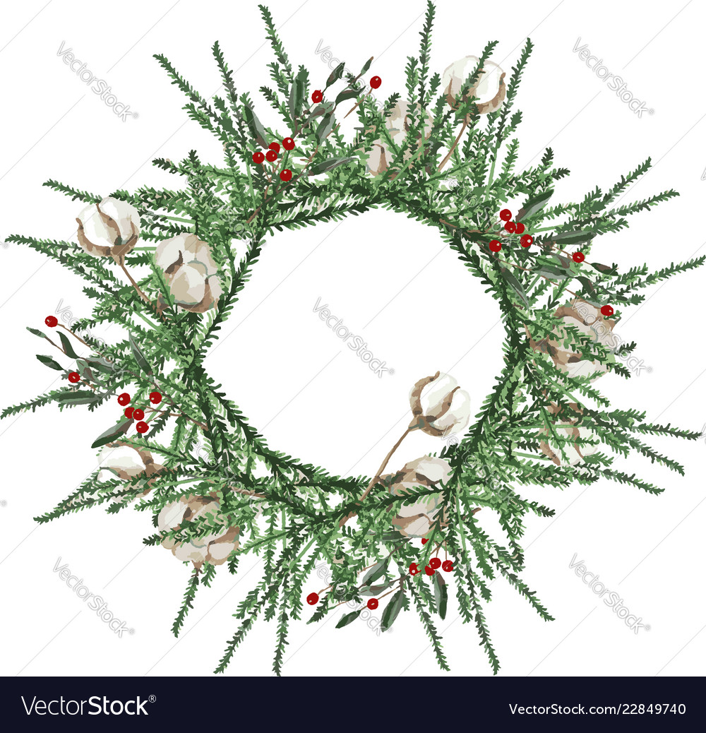 Wreath with pine branches and red berries cotton