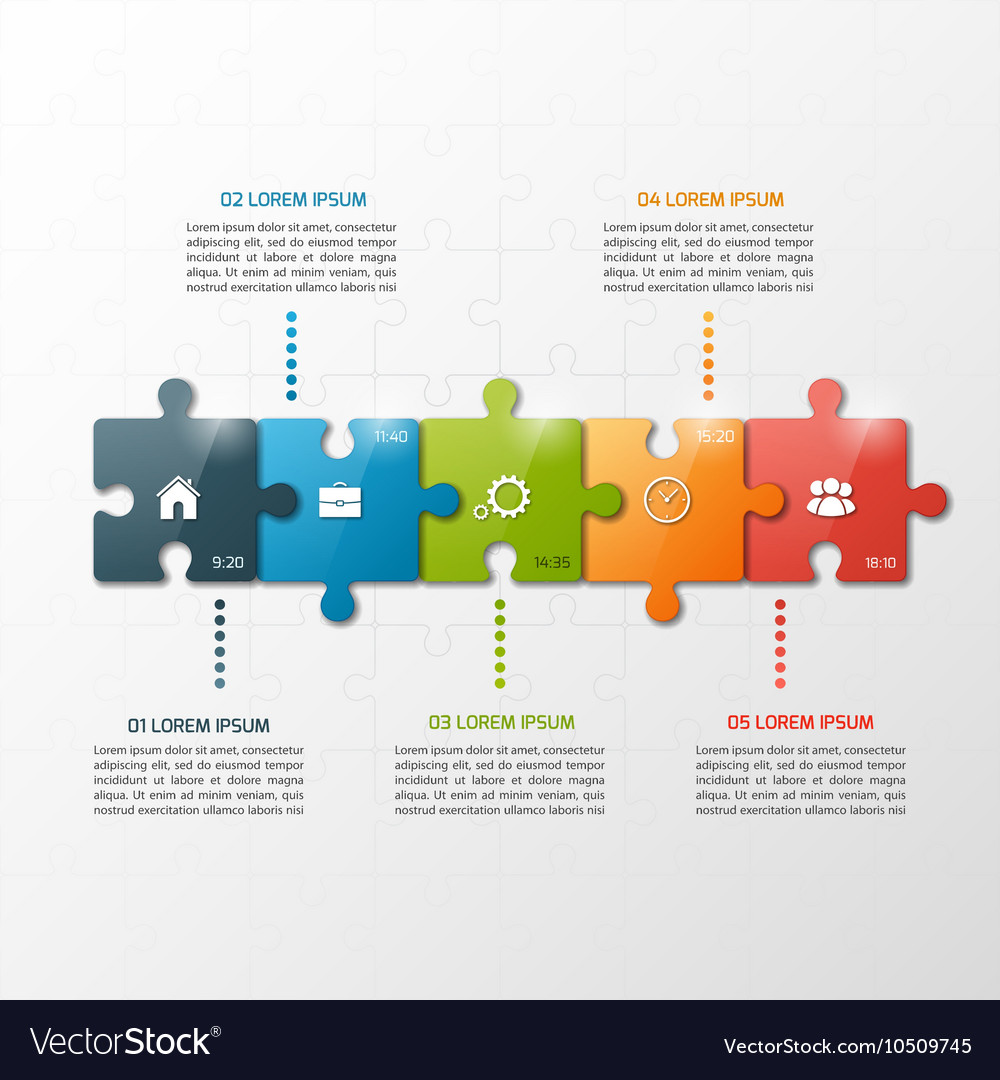 5 steps puzzle style infographic template