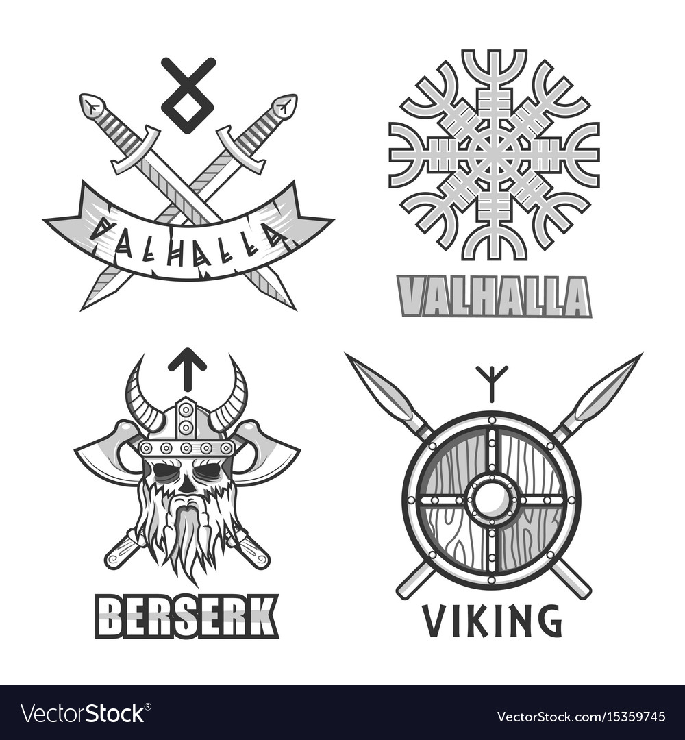 Authentic vikings themed logo isolated monochrome