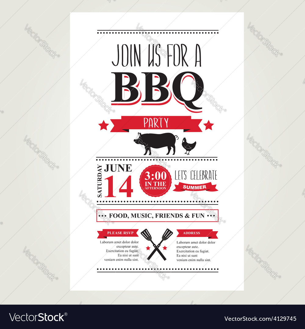Barbecue Party Invitation Bbq Brochure Menu Design
