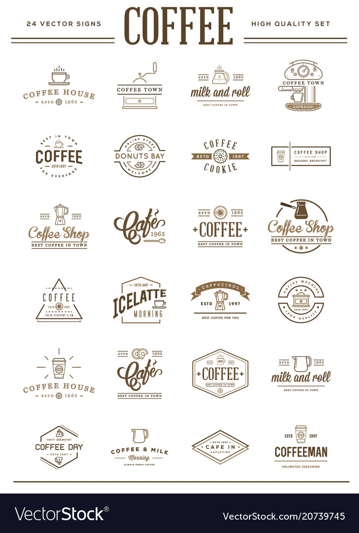 Big set of coffee elements and coffee accessories