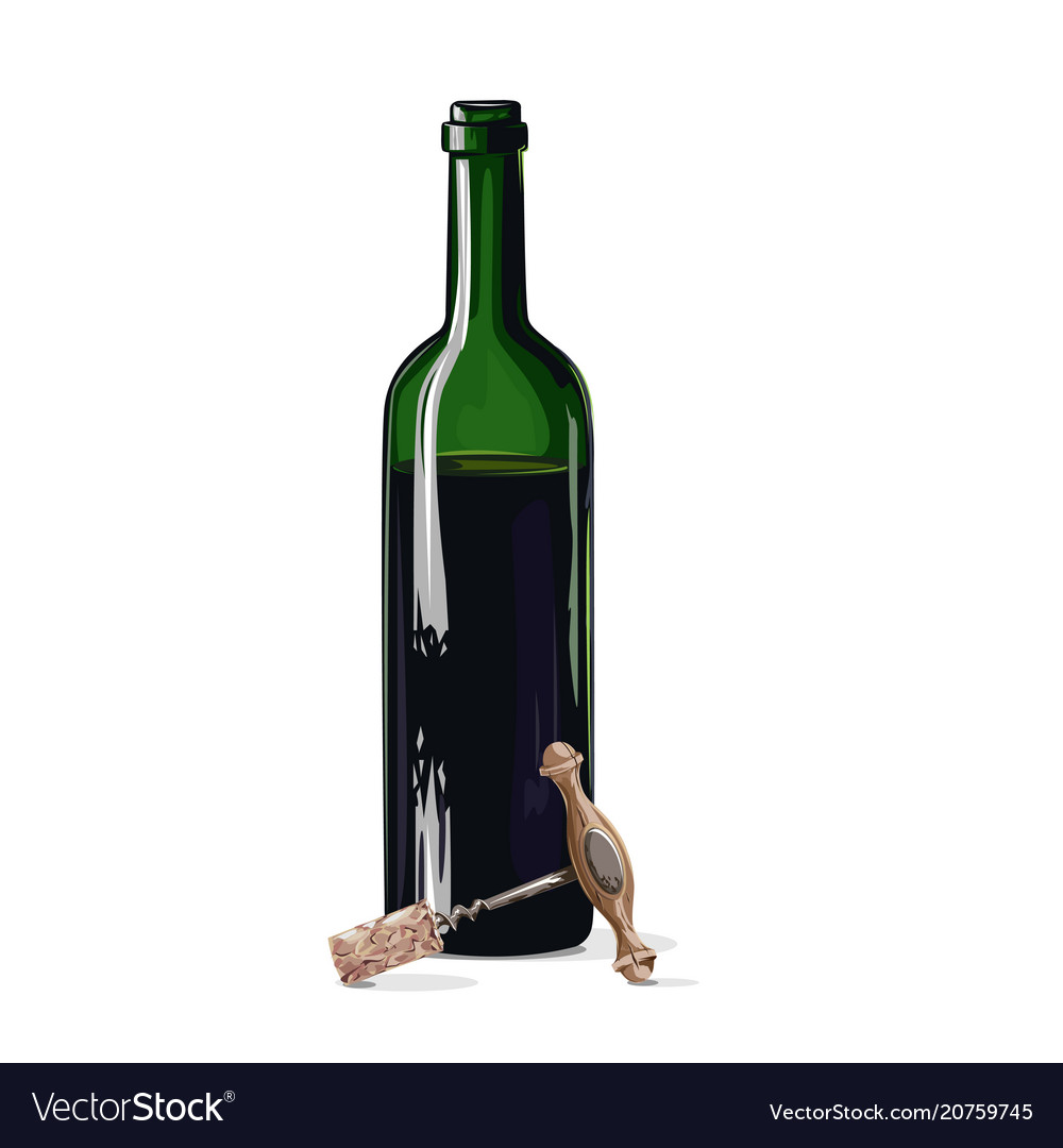 Bottle of wine with a corkscrew vector image