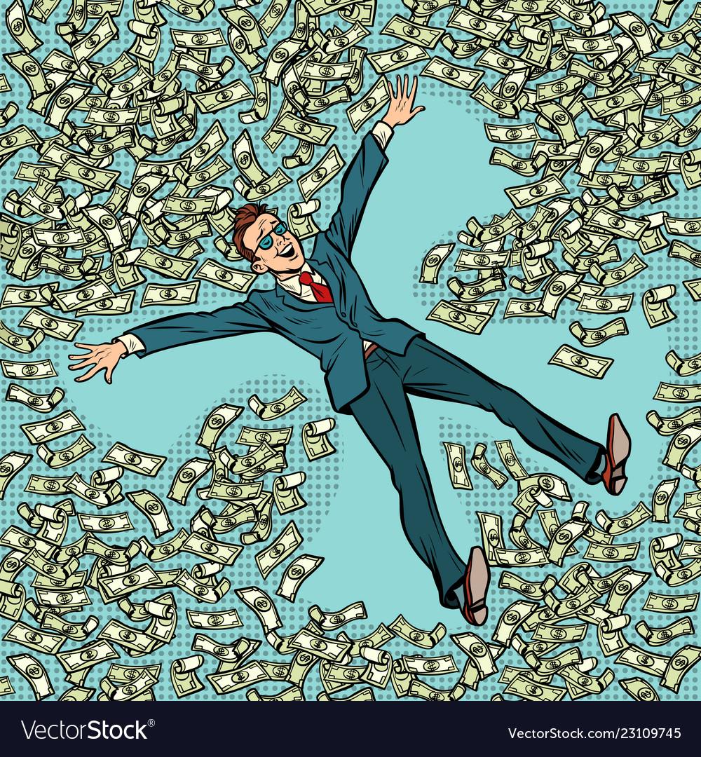 Businessman making snow angel money dollars a lot