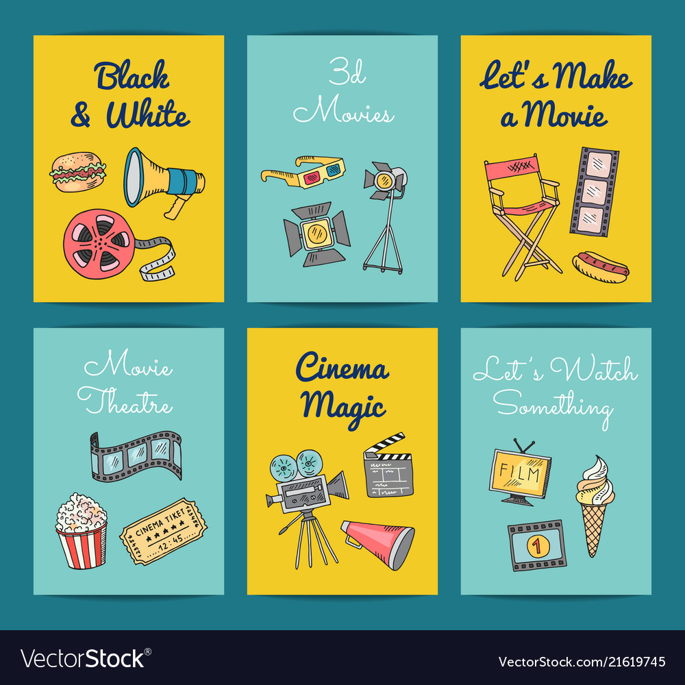 Cinema icons card templates set