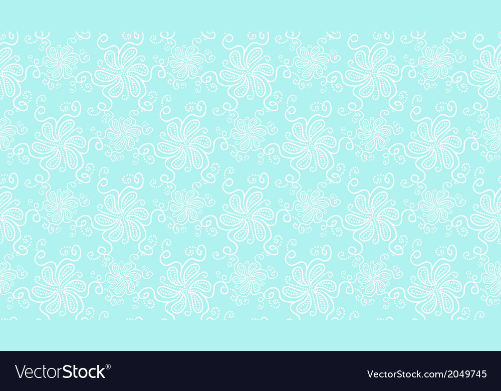 Elegant white lace flower seamless pattern on blue