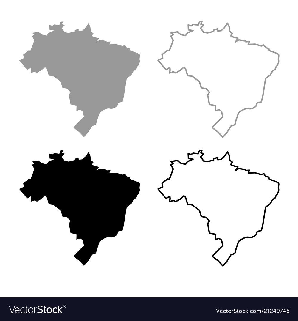 Map Of Brazil Icon Outline Set Grey Black Color Vector Image