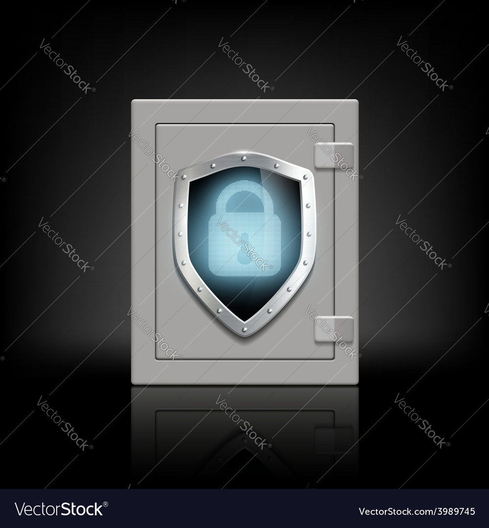 Metal safe with a shield which depicts a lock