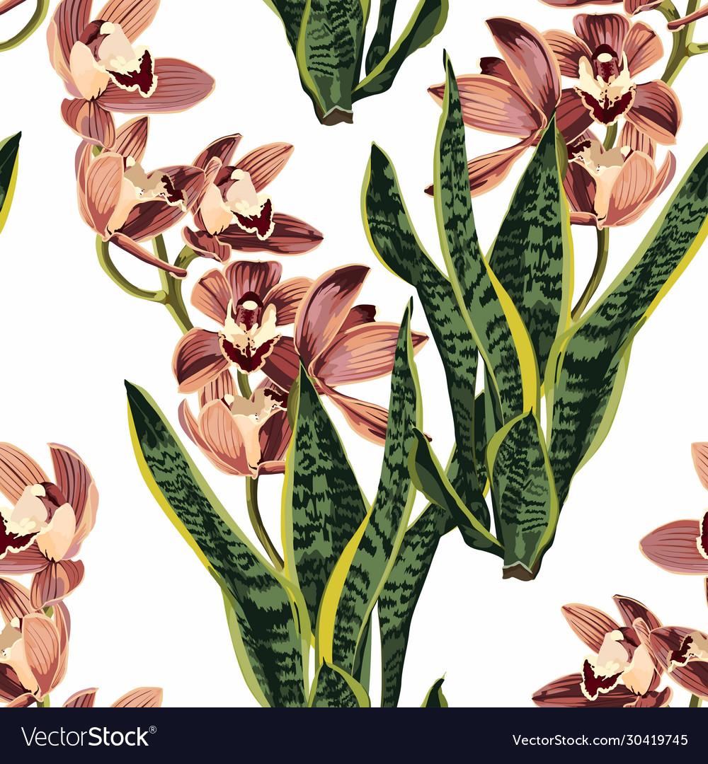 Tropical beautiful flowers pretty pattern