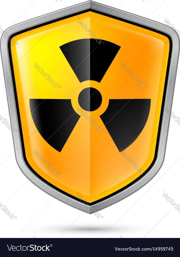 Warning sign on shield indicating of radiation