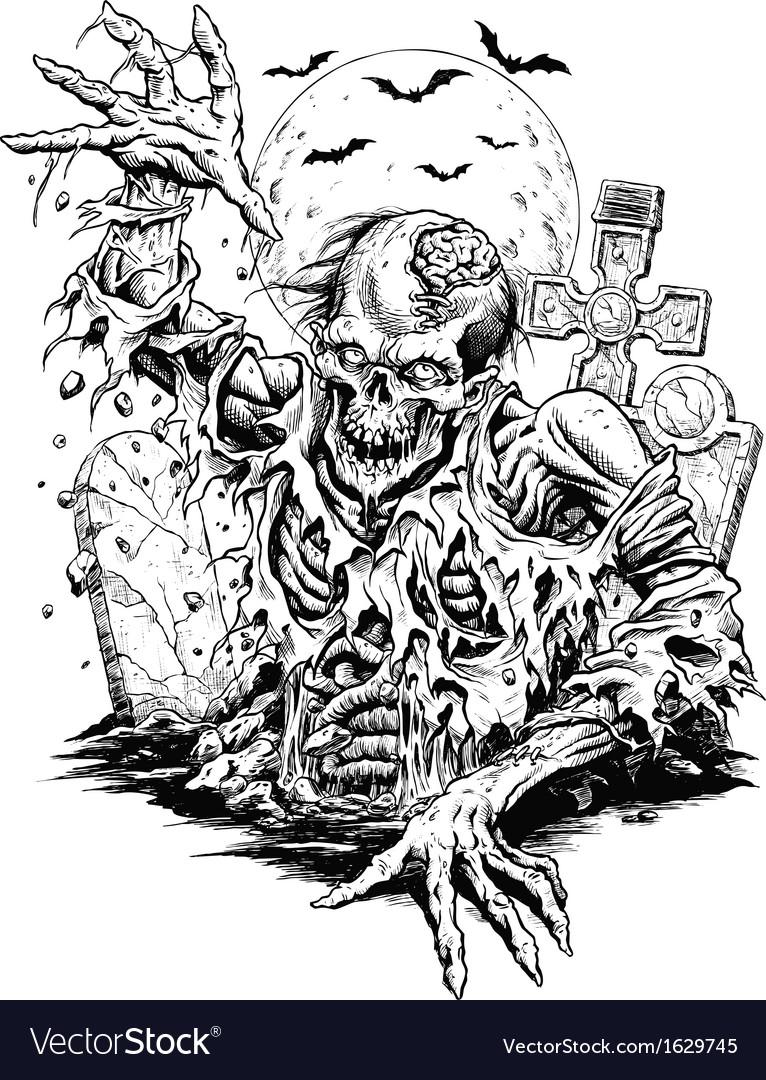 Zombie comic style line art