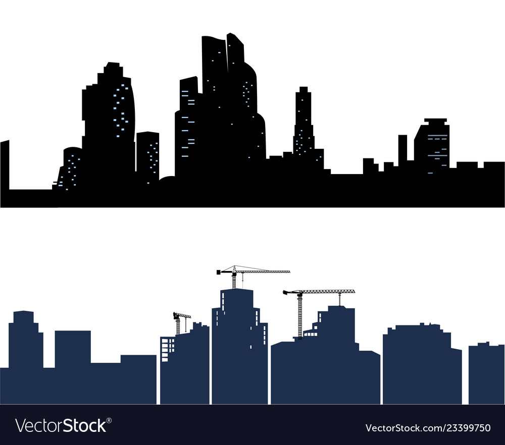 Black city isolated on white background two