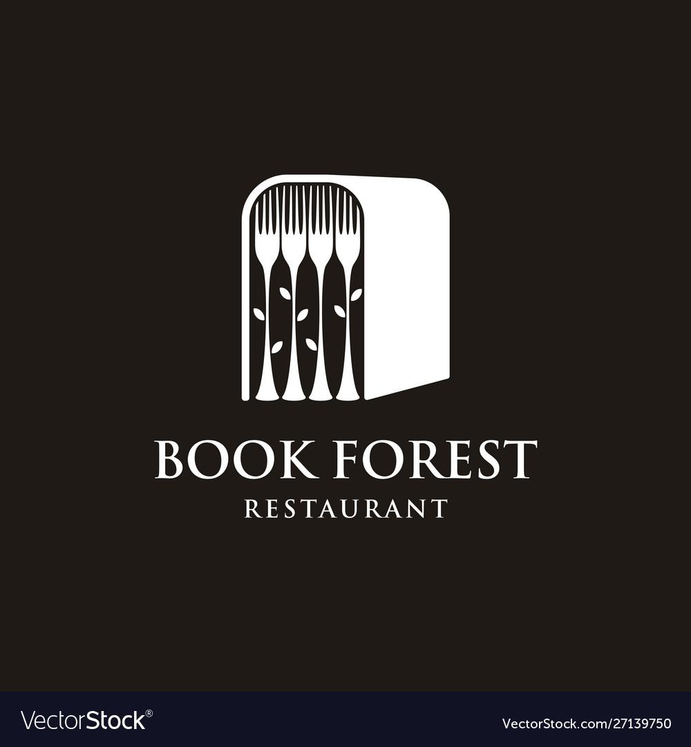 Book forest with fork logo design