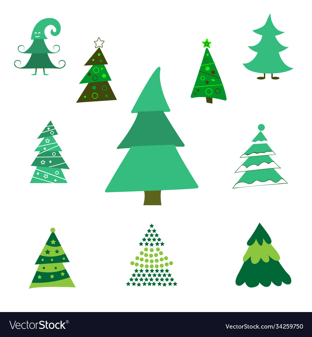 Collection christmas trees modern flat design