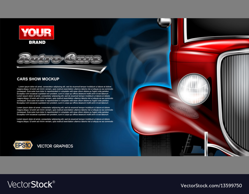 Digital red old retro car close up mockup vector image