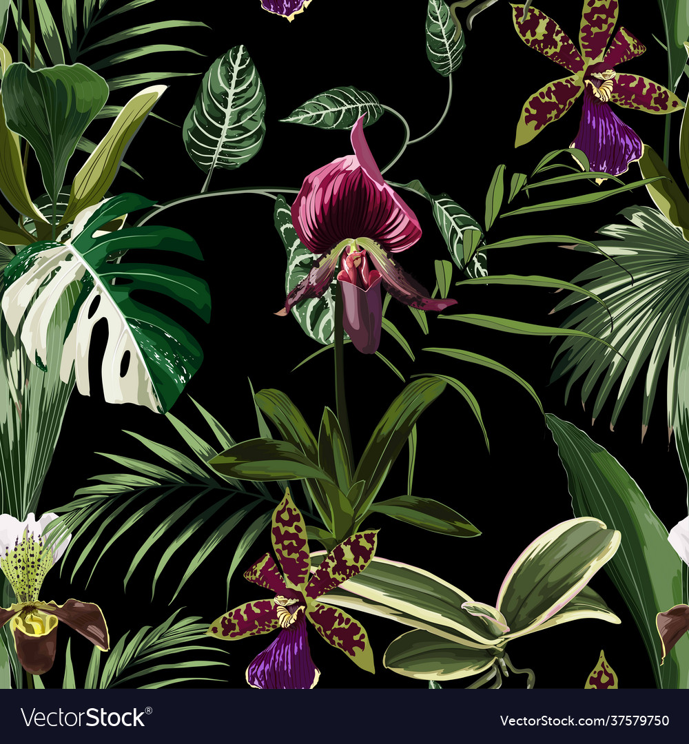 Exotic flowers seamless pattern