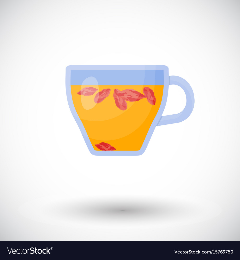Goji berries tea flat icon vector image