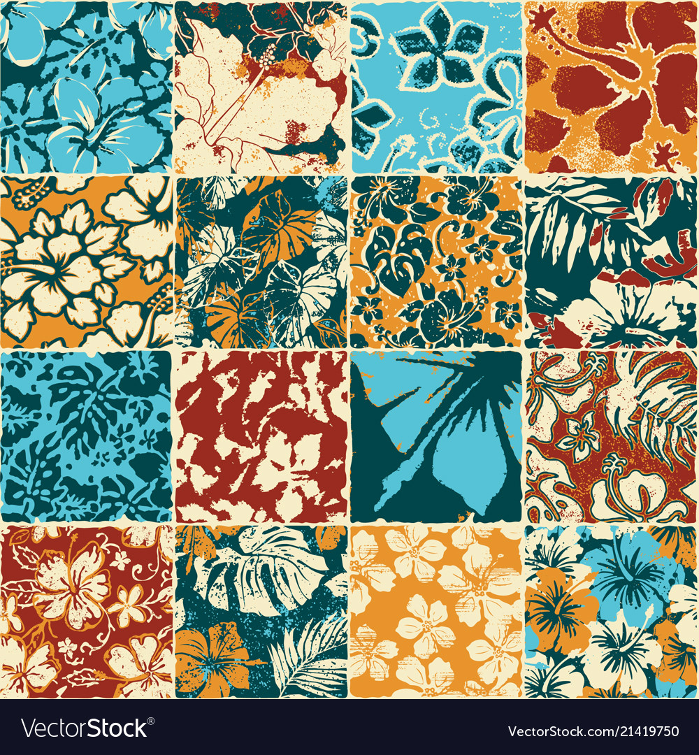 Hibiscus flowers fabric patchwork wallpaper vector