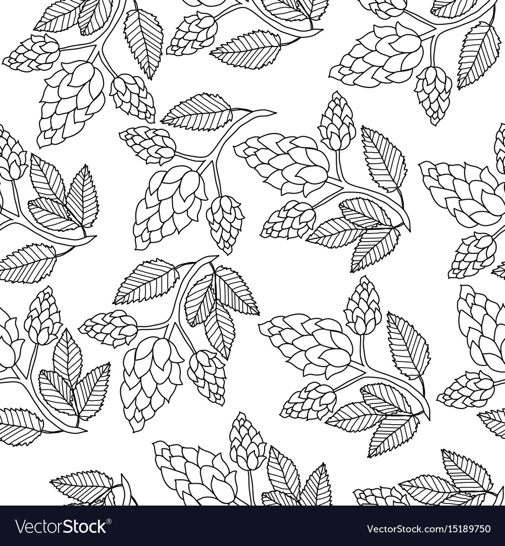 Hops seamless pattern hand drawing doodle style