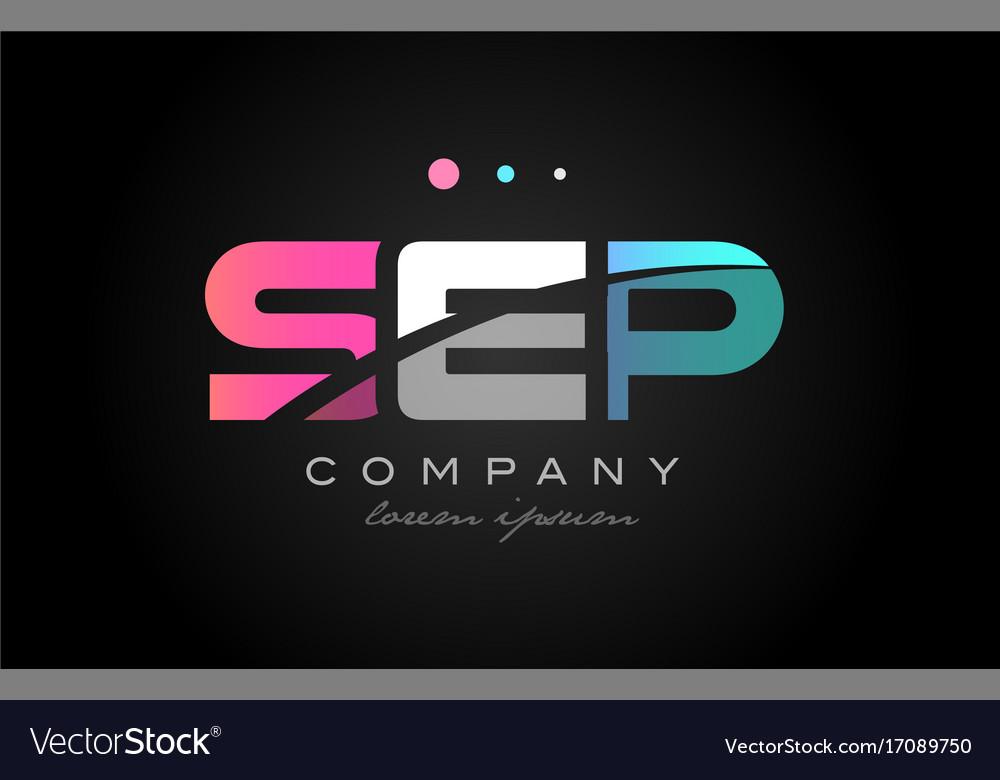 Sep s e p three letter logo icon design vector image