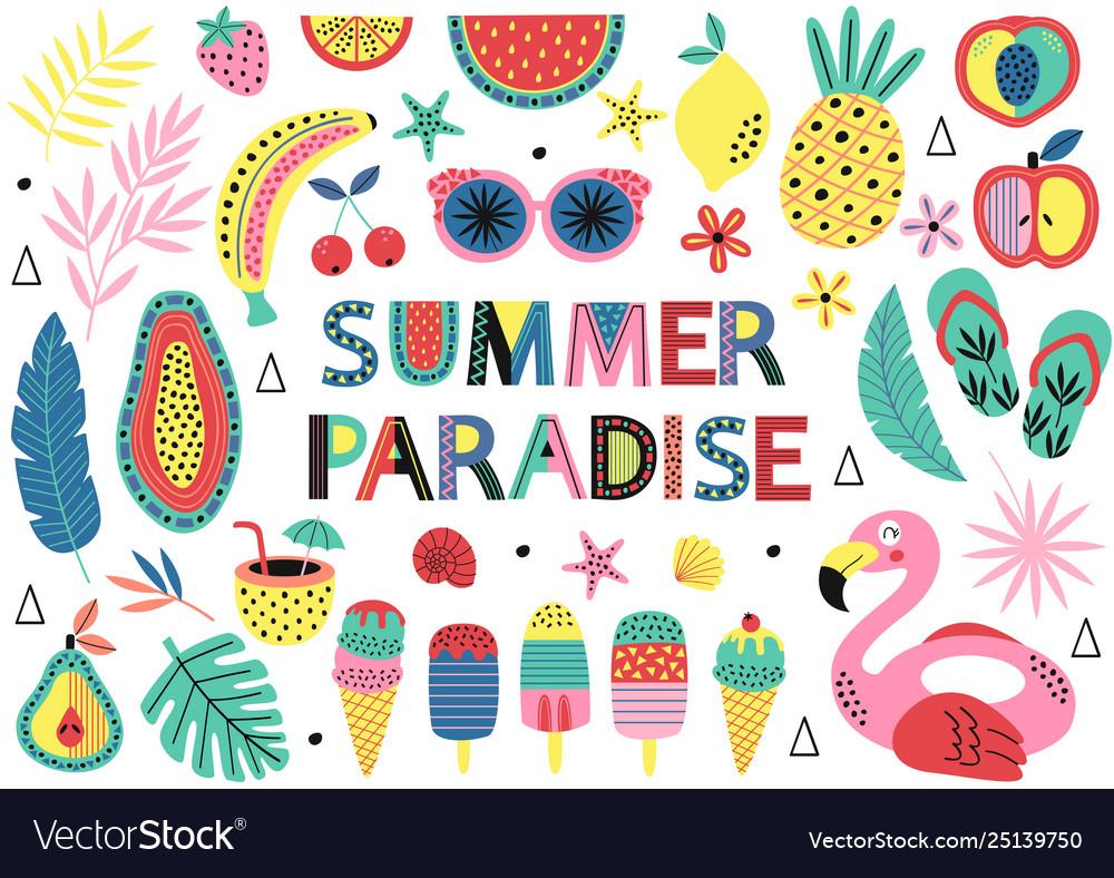 Set isolated elements summer paradise