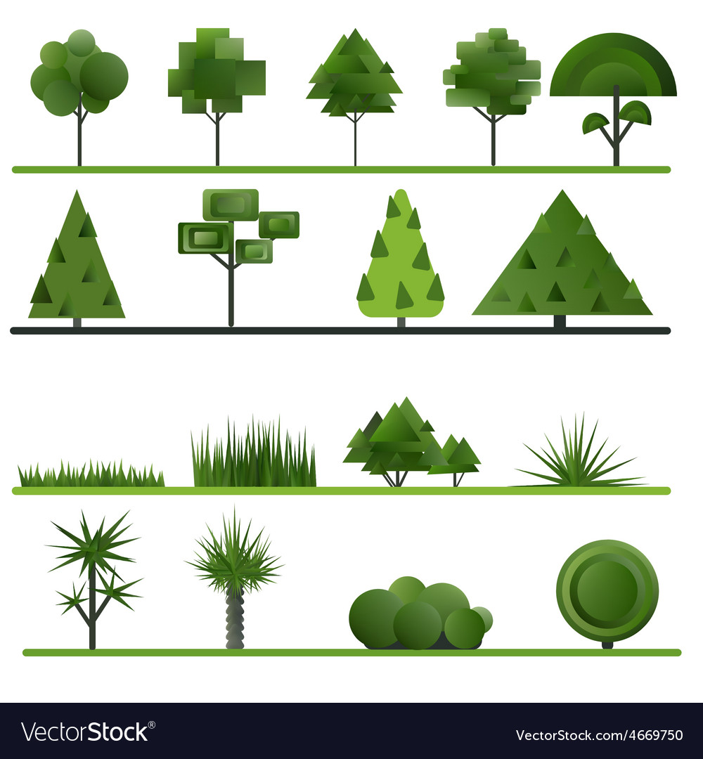 Set of abstract trees shrubs grass on a white