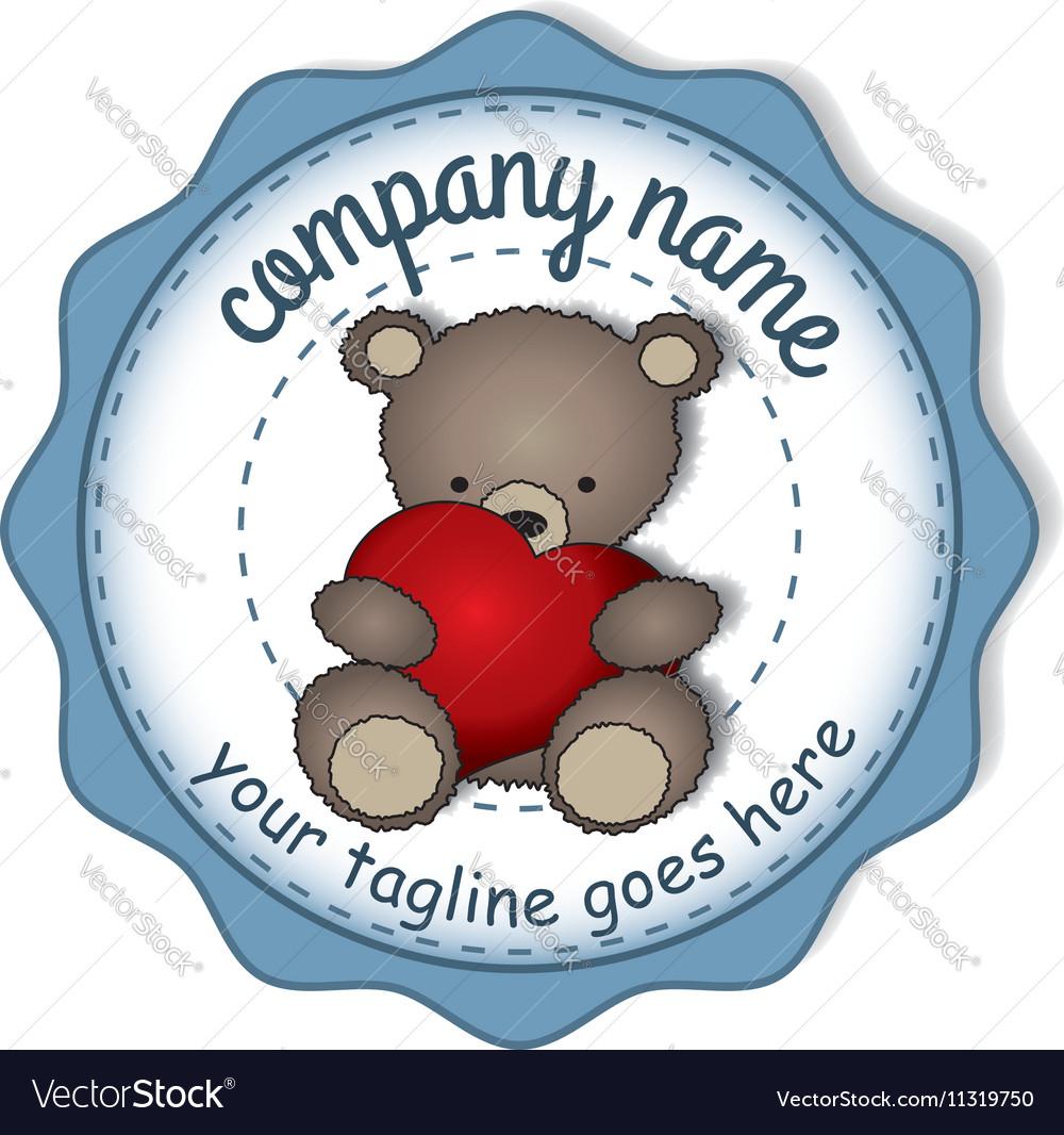 Teddy bear with the big heart -circular label