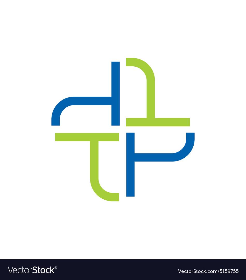 Abstract cross medic hospital logo vector image